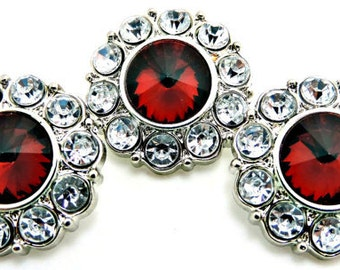 Wholesale RUBY RED Rhinestone Buttons W/ Clear Surrounding Rhinestones Buttons Garment Dress Buttons Diy Embellishments 25mm 2997 41R 2R