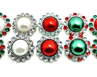 Christmas Red & Green Pearl Rhinestone Button W/ Surrounding Acrylic Rhinestones Embellishments Garment Wedding Coat Buttons  26mm 3185