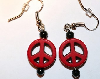 Dangle Earrings-Peace Sign- Red