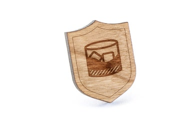 Whiskey Lapel Pin, Wooden Pin, Wooden Lapel, Gift For Him or Her, Wedding Gifts, Groomsman Gifts, and Personalized