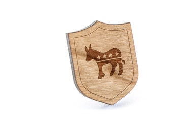 Democratic Donkey Lapel Pin, Wooden Pin, Wooden Lapel, Gift For Him or Her, Wedding Gifts, Groomsman Gifts, and Personalized