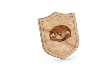 Sloth Face Lapel Pin, Wooden Pin, Wooden Lapel, Gift For Him or Her, Wedding Gifts, Groomsman Gifts, and Personalized