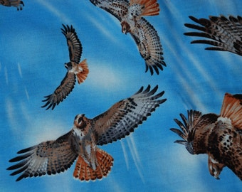 Red Tailed Hawk Fabric by the yard