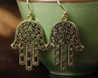 Brass Hand Shaped Dangle Earrings