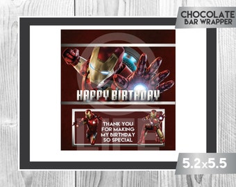 IRONMAN Chocolate Wrapper, Iron Man Chocolate Wrappers, Iron Man Party