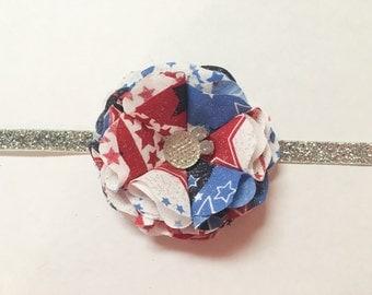 Fourn of July flower headband, patriotic headband