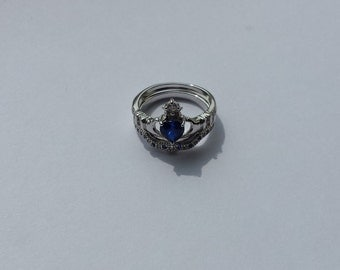 sterling silver claddagh ring 925 blue heart jewel love size 8