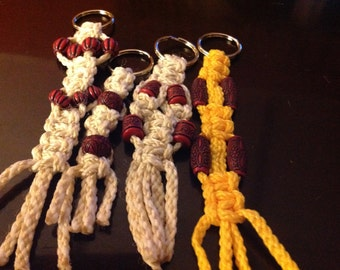 Handmade macrame key chains in different colors and shapes