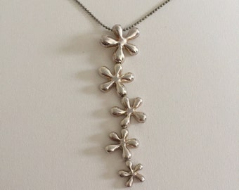 Vintage Tropical Flower Dangle Styled 925 Sterling Silver Pendant Necklace