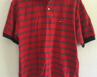 Men's Tommy Hilfiger Red, White and Blue Stripe Polo