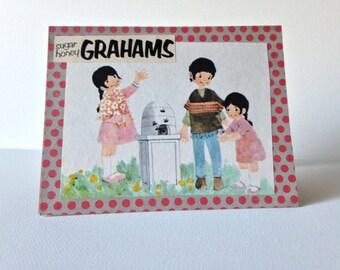 SALE! sugar honey grahams, vintage style, handmade card, greeting card, polka dots, all occasion, collage, mixed media