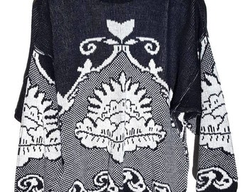 knitted sweater vintage black and white 90s