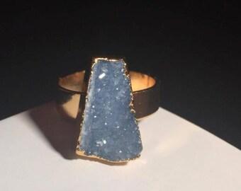 Egyptian Blue Druzy Gold Ring