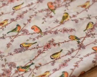 0.5 meter Chiffon Fabric,Birds pattern Fabric , plain Fabri , fabric for Dress,width 57.08''(3-113)