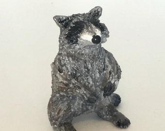 Mini Raccoon buddy, raccoon figurine, polymer clay animal totem