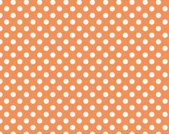 Riley Blake Small Dots, White on Orange, fabric by the yard