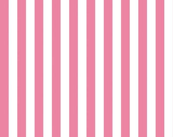 Riley Blake Half Inch Stripe, White and Hot Pink, fabric by the yard