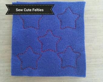 Star Felties - Sheet of 5  Star felties - Sheet of Felties - Stars - Felties -Embroidered Felt Appliques - Hair Bow Centers