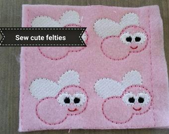 Fly Felties - Sheet of 4 Fly Felties -  Bug Felties - Felties -Embroidered Felt Appliques - Hair Bow Centers