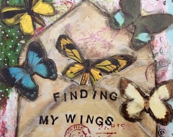 Finding My Wings Still Work is a original piece of art. It is made on a deep sided 6x6 canvas