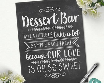 Chalkboard Wedding Dessert Table Sign / Love is Sweet Take A Treat / Wedding Dessert Bar Sign / Custom Wedding Printable Signs
