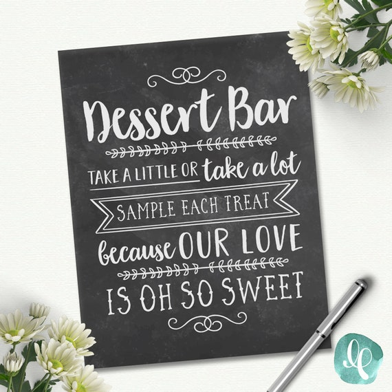 Chalkboard wedding dessert table sign love is sweet take a