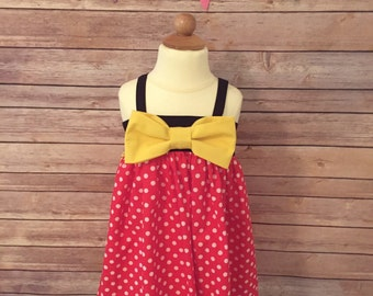 Classic Minnie Mouse Inspired Dress | Red and White Polka Dot Minnie Dress | Red Minnie Dress