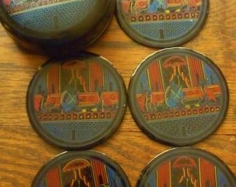"Art Deco Coaster Set Black Lacquer Hand Painted Box 4""  Ship WORLDWIDE"