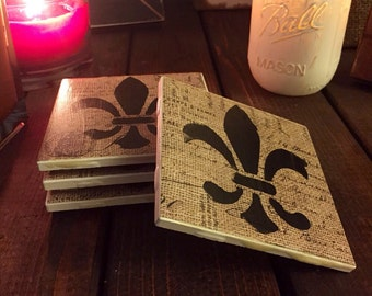 Fleur De Lis Handmade Ceramic Coaster