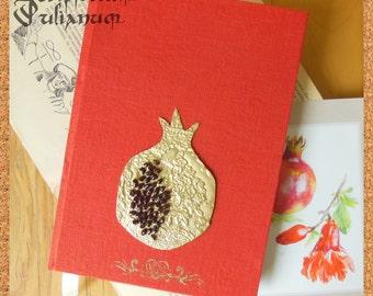 Pomegranate journal with garnets, feminist journal, prosperity journal, red journal, orange journal, gift for her, Easter gift