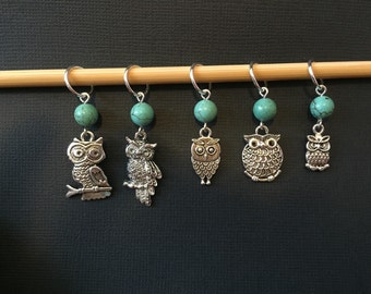 Turquoise Owl Knitting Stitch Markers - Set of 5