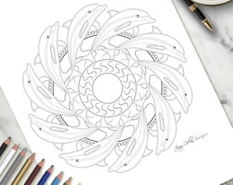 Adult Colouring Page Dolphin Mandala