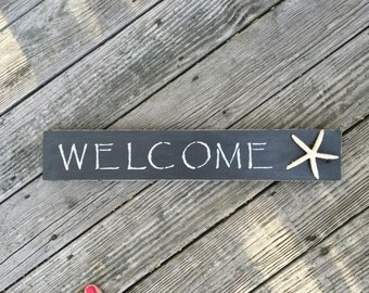 Welcome Sign, Starfish,Beach,Coastal,Nautical,Home,Beach