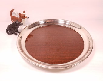 Vintage Formica Corp 12 inch Serving Platter with F.B. Rogers Silver Co, Rim Faux Wood with Chrome Rim, Excellent Condition, Retro Barware