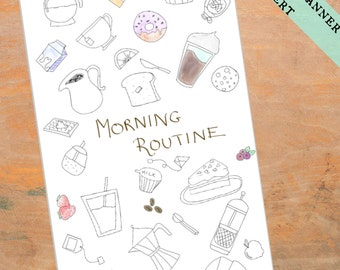 PERSONAL Coffee Planner Insert Printable - Coffee Theme - Breakfast - Filofax Personal Refill Coloring - Personal Planner Divider