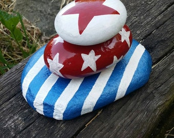 Red, White, and Blue Stacked Rock Sculpture/ Memorial Day/Patriotic/4th of July/Stars and Stripes/Indoor-outdoor Decor