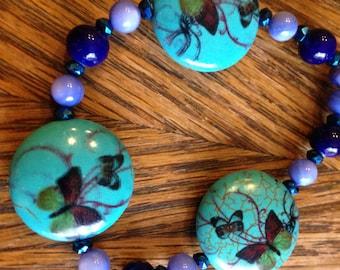 Beaded Butterfly Bracelet! Blue & Green Glass Beads!