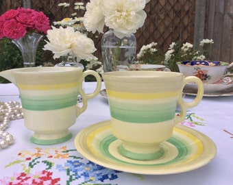 1930's Pretty Bone China Coffee Cup Saucer and jug, for Morning coffee