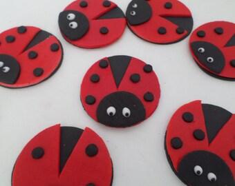 12 Ladybug Fondant edible sugar cupcake toppers