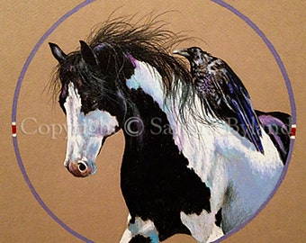 HORSE RAVEN DRAWING Fine Art Giclee Print Horse Art Pinto Horse Drawing Signed Giclee Print Horse and Raven Totem Indian Pony Pinto Horse