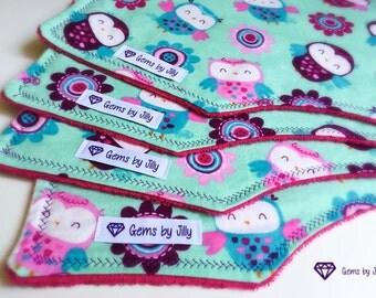 Baby Burp Cloths - Owls set of 4
