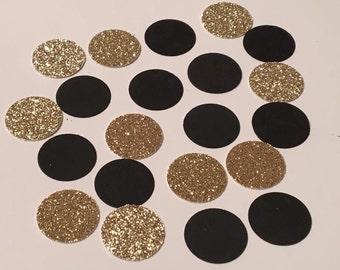 200 Black Gold Confetti Glitter Confetti Birthday Confetti Shower Confetti Wedding Confetti Polka Dot Confetti Black Confetti Gold Confetti