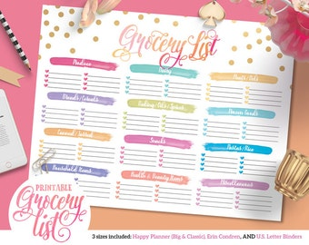 Colorful Grocery Shopping List  | For Happy Planner | Erin Condren | U.S. Letter Binders | Instant Download