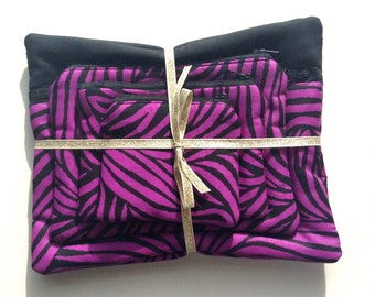Set of Four Purple Zebra Pouches // Four Hand Made Pouches Perfect for Make-up, Feminine Hygeine Products and Handbag Debris!