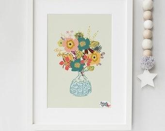 A4 'Autumn Blooms' art print