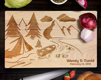 Personalized Cutting Board Wedding Gift Canoe Camping Wedding Camp Fire Maple Cutting Board Anniversary Gift CB0005