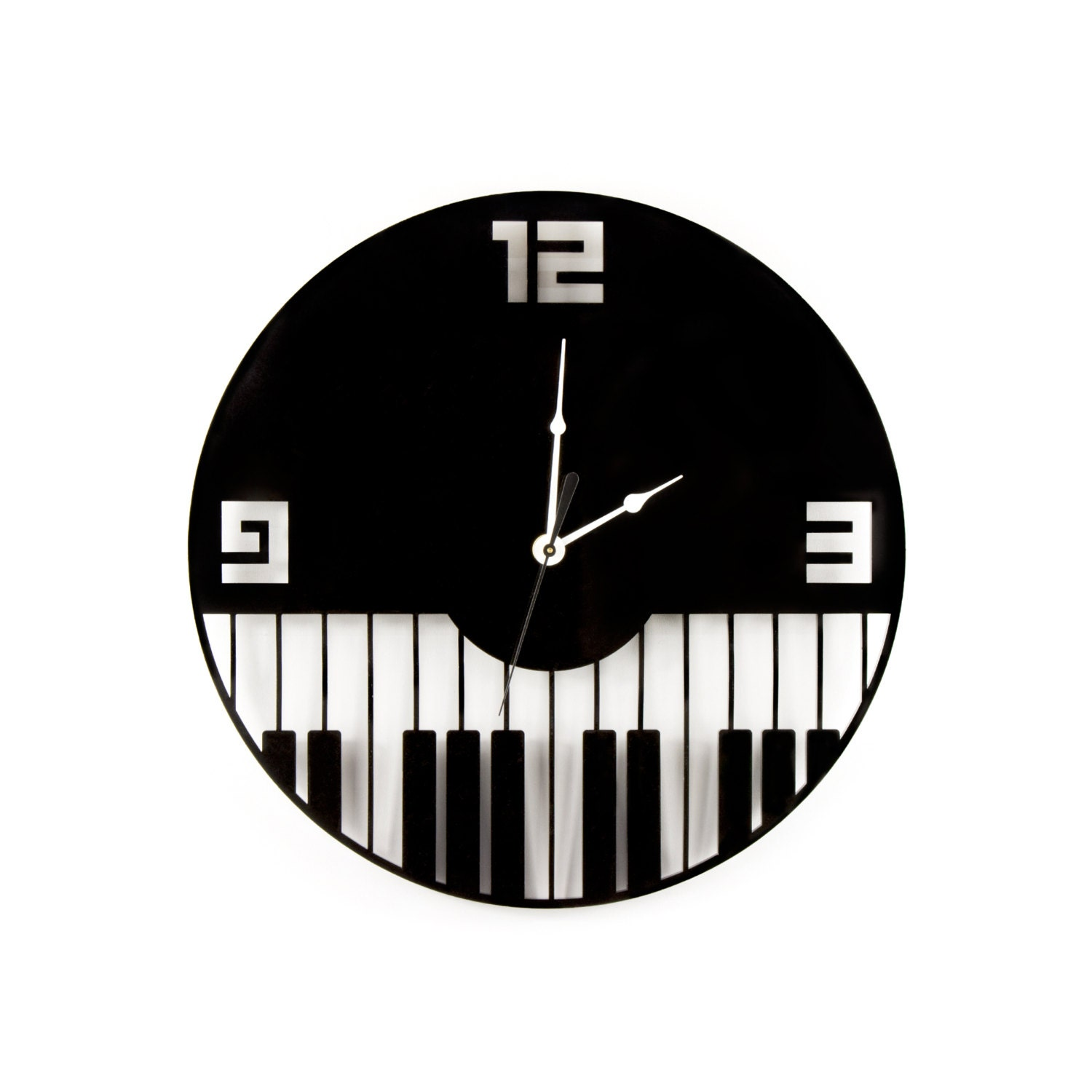Large Wall Clock Laser Cut Acrylic Piano Keys Music Clock Black