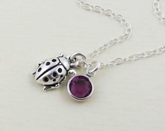 Silver Ladybug Necklace, Ladybug Jewelry, Ladybird Necklace, Ladybug Charm Necklace, Tiny Ladybug, Insect Necklace, Birthstone Jewelry