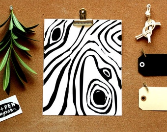"Wood Grain Print [Black & White] 8""x10"""