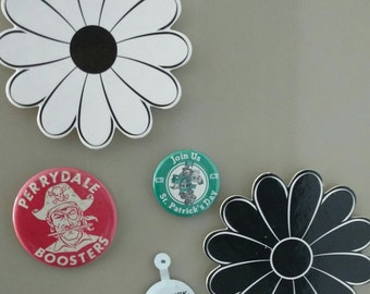 Set of 5 magnets made from a vintage floral coaster and pins.